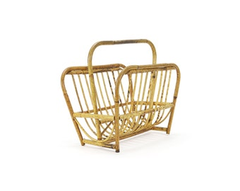 vintage mid-century bamboo magazine rack