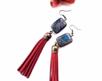 Statement tassel earrings- gemstone earrings- red tassel