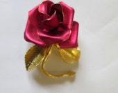 Vintage Rose Brooch w/ Stem Leaves Gold Tone Signed Cerrito Red Enameled Blooming Dimensional Hand Shaped Rose Brooch Mid Century