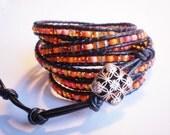 7-Wrap Leather Bracelet Orange Jewelry Czech Glass Cuff
