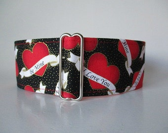 Valentine Martingale Collar, 2 Inch Martingale Collar, Valentine Dog Collar, Greyhound Martingale Collar, Hearts Dog Collar, Valentines Day