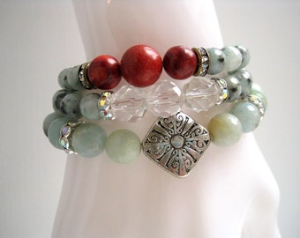 Sesame Jasper Bracelet / Pale Green Beaded Bracelet / Stone & Crystal Stacking Bracelet / Semi-Precious Gemstone Beadwork