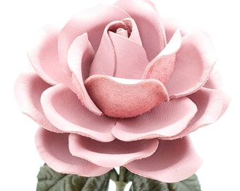 Leather Rose Pastel Pink Leather Flower Third Anniversary 3rd Leather Anniversary Ninth Wedding Anniversary Gift Long Stem Rose Sofia