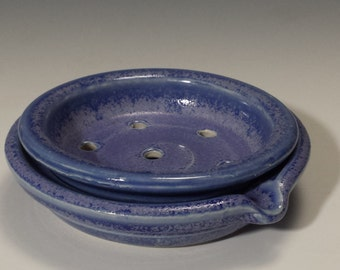 Soap dish with two parts for easy cleaning cobalt blue crystal glaze