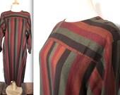 SALE Vintage 1960's Dress // 60s 70s Marimekko Muted Striped Long Sleeve Shift Dress // Finnish Designer Dress // DIVINE
