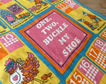 Vintage 1960s Tea Towel // Wall Hanging //  Mod Pop // Nursery Rhyimes // One Two Buckles My Shoe