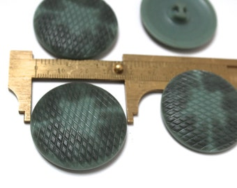4 Teal Green Vintage Buttons - 1970s Plastic Buttons - New Old Stock Buttons - Cameo Buttons/38 mm