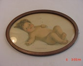Vintage Baby Contentment Tin Framed  Print  16 - 442
