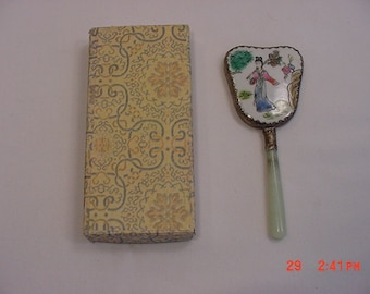 Vintage Japanese Or Chinese Hand Mirror In Original Box   16 - 129