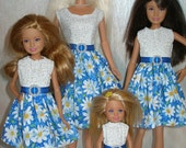 """Handmade 11.5"""" fashion doll and sisters clothes - 4 fashion doll sisters blue and white daisy dresses"""