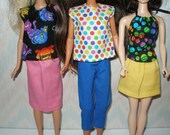 """Handmade 11.5"""" Fashion doll clothes -  6 piece set -- capris pants, 2 skirts and 3 tops"""