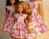 """Handmade 11.5"""" fashion doll and sisters clothes - 4 fashion doll sisters pink and white daisy dresses"""