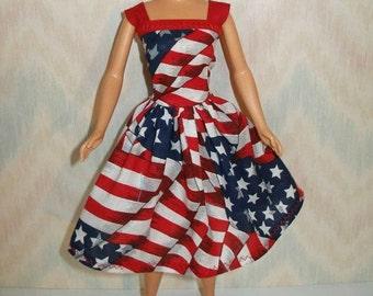 "Handmade 11.5"" fashion doll dress - red, white and blue flag print"
