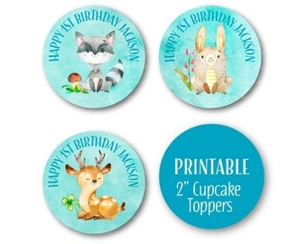 Woodland Cupcake Toppers, Happy Birthday Toppers, Woodland party Decor, Printable Circles, Cupcake Toppers - 2 inch Circles 1515blue