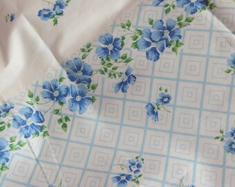 Vintage Feedsack Border Print Fabric-Sweet Blue Floral-BTY-1 Yard-more available