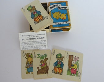 Vintage Childrens Playing Cards-Animal Rummy-Russell-Complete