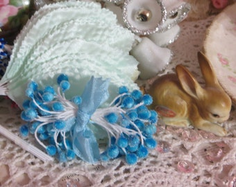 Millinery Hat Supplies-Stamens-Pips-Sugar Craft-Cakes-Wedding-Corsages-Ocean Blue Mix