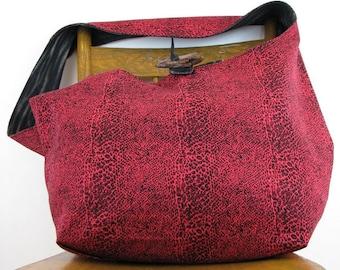 PINK CROSSBODY BAG - Hobo Bag - Hippie Bag - Boho Bag - Handmade Bag - Over Shoulder Bag - Large Bag - Snakeskin Bag - Sling Bag - Pink Bag