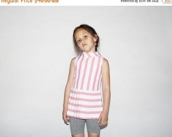 70% Off FINAL SALE - Kid's Vintage 60s Striped Mod Tunic Dress - 1960s Pink Pleated Dress - Children's Vintage - K0055