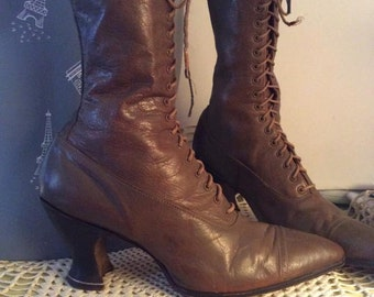 Victorian Edwardian Light Brown Leather High Top Tie Boots