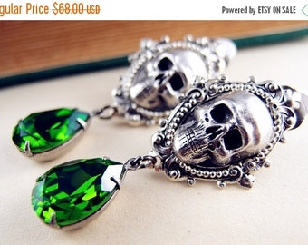 CLEAROUT SALE 40% OFF Ear cuff No Piercing--aged sterling silver plated brass,Swarovski dark green crystals,skull gothic earrings,statement,