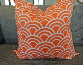Orange and White Decorative Pillow Cover