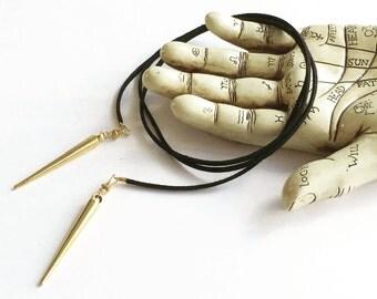Metal spike Bolo tie necklace, spike choker necklace