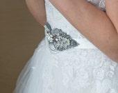 Bridal belt, Bridal sash, Silver white opal wedding dress sash, Bridal gown sash, crystal sash, Wedding belt, wedding sash, Leaf sash
