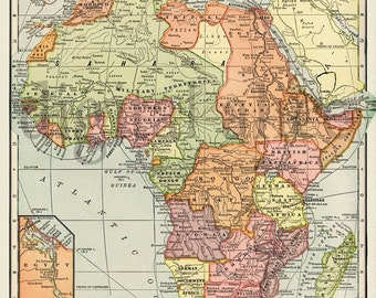 Vintage MAP of AFRICA -  Instant Download Digital Printable- Old Antique African Map  2 sizes