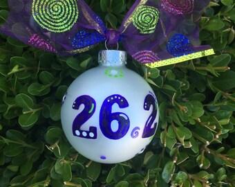 Marathon Ornament - Personalized Running Ornament- Hand Painted Christmas Bauble, Glass Ball, 26.2 Marathon Runner Gift