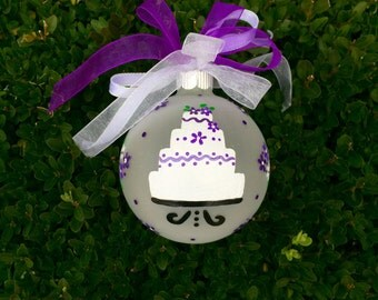 Wedding Ornament - Personalized Free, Hand Painted Christmas Ornament, Just Married, Wedding Cake, Christmas Bauble, Wedding Couple Gift