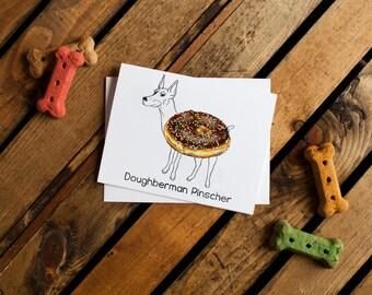 Dog Treats Notecard - Doughberman Pinscher (doberman pinscher, dog notecards, dog stationery, thank you, thinking of you, friend)