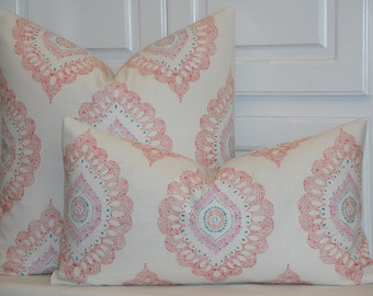 Decorative Pillow Cover - 12  x 22 - Medallion in Coral Orchid Turquoise - Accent Pillow - Throw Pillow - Geometric - Toss Pillow