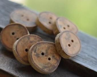 wood button • set of 7 Birch wooden buttons