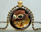 15% OFF SALE Steampunk Cat Necklace Cat Jewelry Yellow Calico Cat with Hat and Goggles, Photo Charm Necklace with Free Ball Chain No. 5004