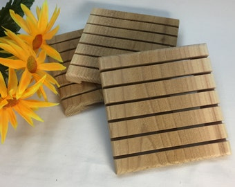 3 red cedar soap dishes