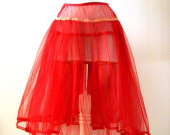 Vintage 50s RED Crinoline - 1950s Red Netting Crinoline - Double Layer Red Crinoline Petticoat - Pin Up Bombshell - Size X Small