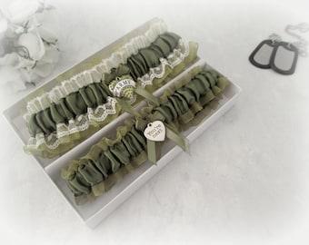 Army Wedding Garter Set - Military Bride Garters - Military Wedding gift set - Army Bridal Garters