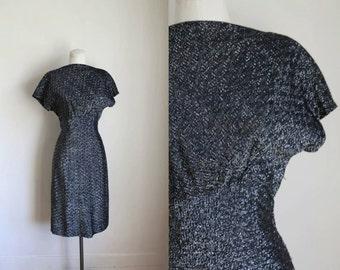 vintage 1950s metallic dress - STARRY NIGHT black & silver wiggle dress / S-M