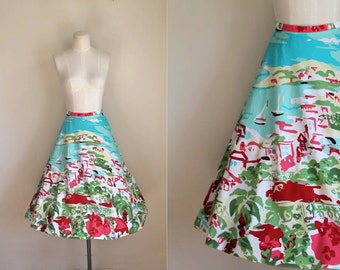 "vintage novelty print skirt - MEDITERRANEAN print 90s does 50s circle skirt / M / 31"" waist"