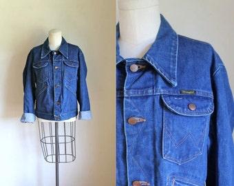 vintage 1970s denim jacket - WRANGLER indigo jean jacket / sz 40