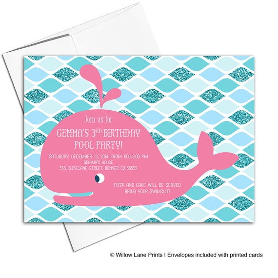 Girls 3rd birthday invitation printable pool party invitations il570xn filmwisefo