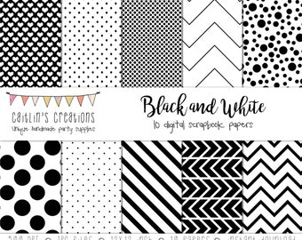 Black and White Digital Scrapbook Paper - 10 Papers - 12x12 -  Polka dots, hearts, stripes, chevron, diamonds - INSTANT DOWNLOAD