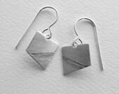 Skid Marks Earrings silver modern asymmetric geometric oxidized band artisan handmade