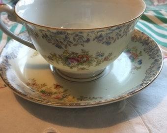 Vintage Tea Cup 2 Piece Set Floral NAT32 National China Made in Japan #3658