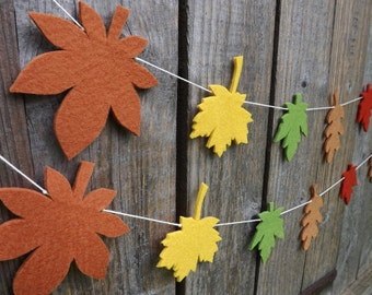 Autumn Garland, Fall Bunting, Autumn leaves, Thanksgiving decor, Fall leaves, oak leaves, maple leaves, Autumn garland, fall decor