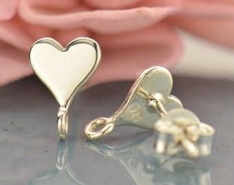 Sterling Silver Heart Post Earrings with Loop
