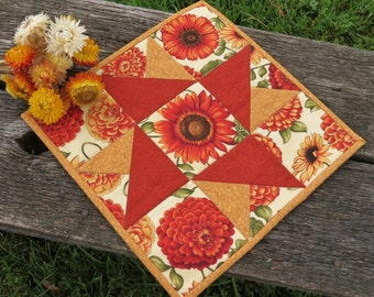 Indian Summer Quilted Table Runner Candle Mat - Reversible