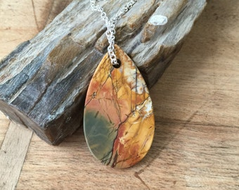 Picture Jasper Statement Necklace Sterling Silver