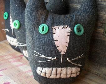 Primitive Halloween Black Cat Bowl Fillers ...set of 3